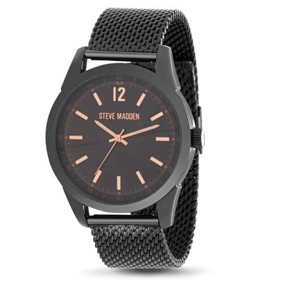 Imagen de Steve Madden Black-Tone Quartz Movement Alloy Case Mesh Chain Band Watch