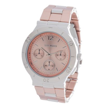Imagen de Steve Madden Rose Gold & Silver Plated Alloy Case Multifunction Dial Link Band Watch
