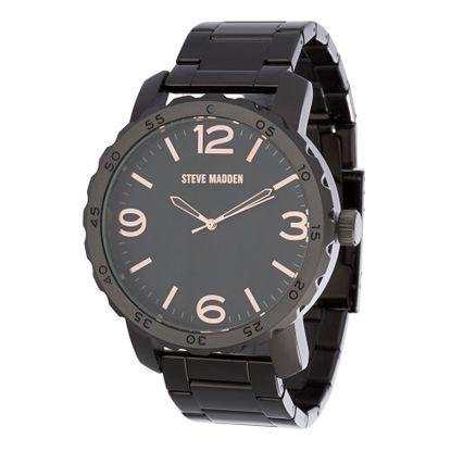 Imagen de Steve Madden Men's Stainless Steel Japanese-Quartz Watch with Alloy Strap, Black, 22 (Model: SMW129BK-Q)