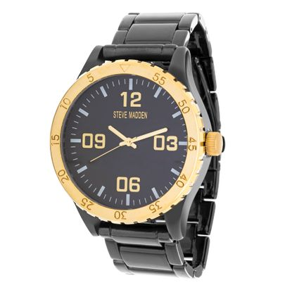 Imagen de Steve Madden Men's Analog-Quartz Watch with Alloy Strap, Black, 23.368 (Model: SMW155GU-G)