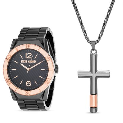 Imagen de Steve Madden Cruz Pendant and Watch Set SMWS080 Silver One Size
