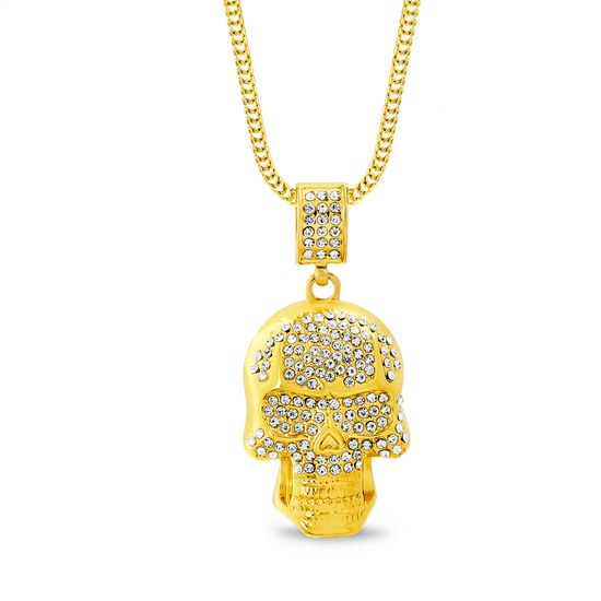 Imagen de Gold-Tone Crystal Skull Pendant Curb Chain Mens Necklace