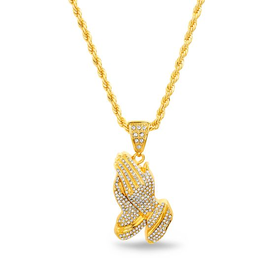 Imagen de Gold-Tone Crystal Prayer Hands Rope Chain Mens Necklace