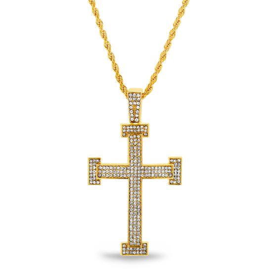 Imagen de Gold-Tone Crystal Cross Pendant Rope Chain Mens Necklace