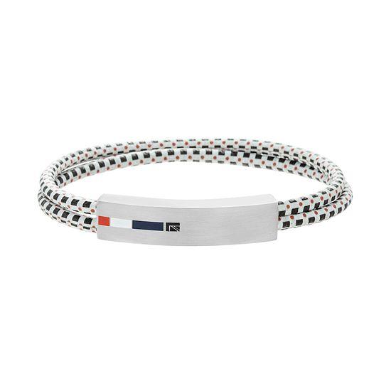 Imagen de Ben Sherman Men's Stainless Steel Blue White & Red Enamel ID Plate Double Stranded Black Red & White Cord Bracelet