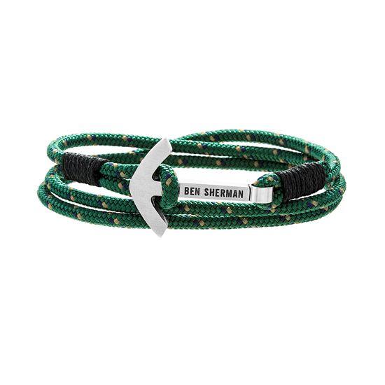 Imagen de Ben Sherman Men's Stainless Steel Anchor Hook Black Green & Yellow Wrap Around Cord Bracelet