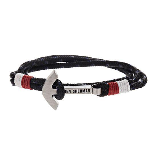 Imagen de Ben Sherman Men's Stainless Steel Anchor Hook Black Red & White Wrap Around Cord Bracelet
