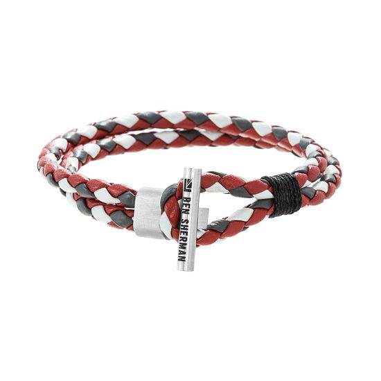 Imagen de Ben Sherman Men's Stainless Steel Toggle Hook Design Gray Red & White Double Stranded Braided Leather Bracelet