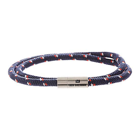 Imagen de Ben Sherman Men's Stainless Steel Double Strand Black Blue & Red Dot Design Cord Magnetic Bracelet