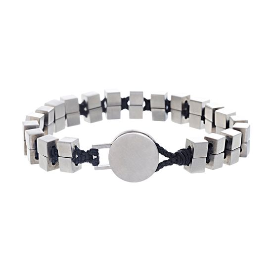 Imagen de Ben Sherman Men's Stainless Steel Cube Beaded Black Cord Bracelet