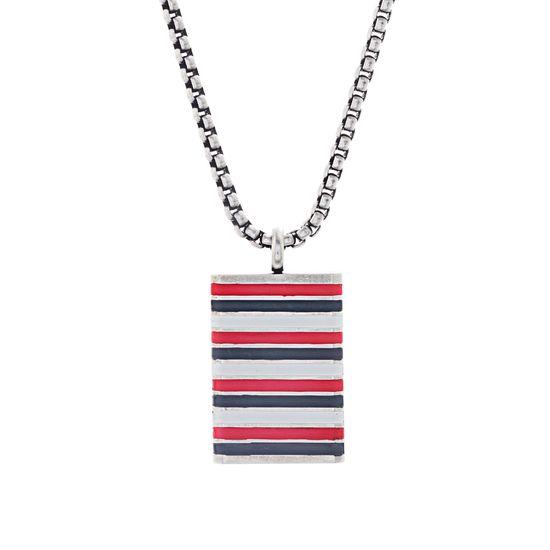 Imagen de Ben Sherman Oxidized Men's Red White & Gray Enamel Striped Rectangle Pendant Rolo Chain Necklace