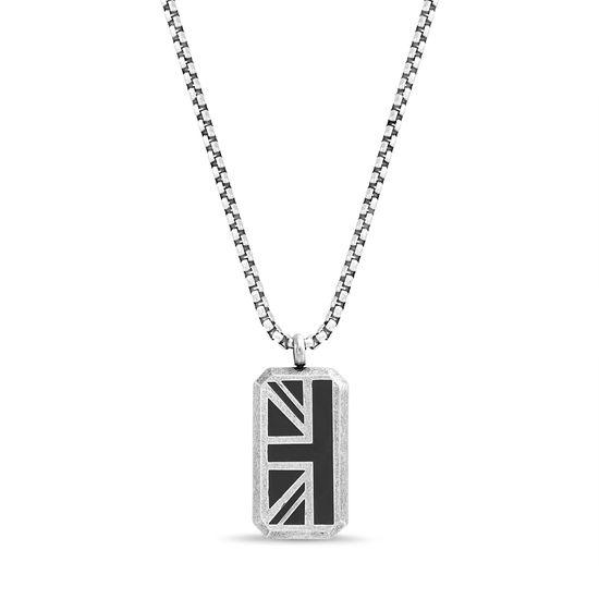 Imagen de Ben Sherman Oxidized Men's Black Enamel British Flag Pendant Rolo Chain Necklace
