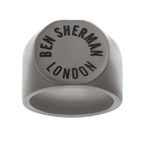 Imagen de Ben Sherman Men's Black IP Stainless Steel Ben Sherman London Engraved Flat Top Ring