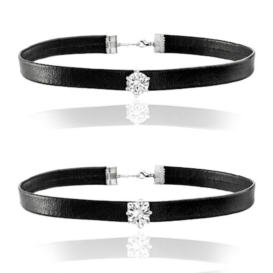 Imagen de Silver-Tone Stainless Steel 2pc Round/Square Cubic Zirconia Black Leather Choker