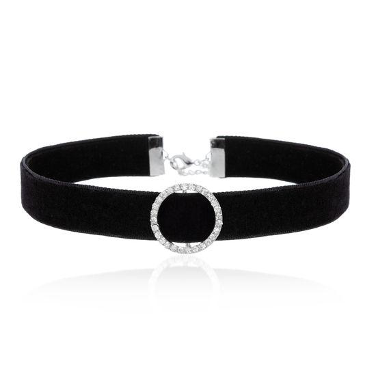 Imagen de Silver-Tone Station CZ Circle Charm Leather Strap Choker Necklace