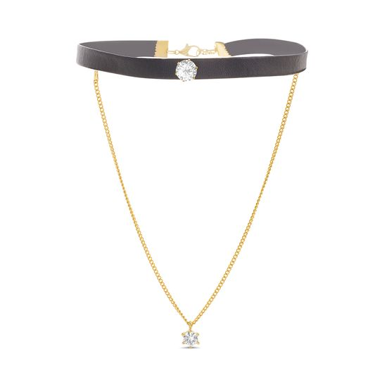 Imagen de Gold-Tone Double Layered Crystal Cable Chain/Black Leather Choker
