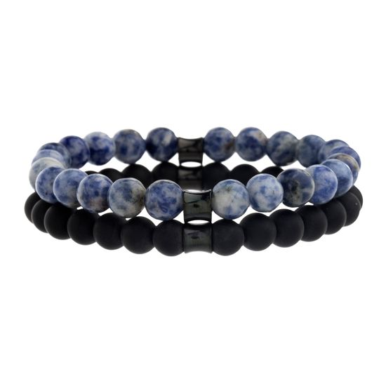 Imagen de Creed Black Rhodium Plated Stainless Steel Men's Sodalite/Onyx Stone Beaded Double Stranded Bracelet