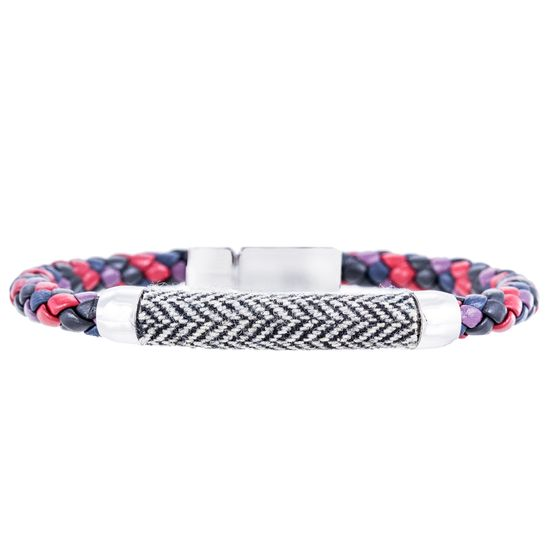 Imagen de Ike Behar Silver Tone Brass Station Canvas Multi Colored Leather Braided Bracelet