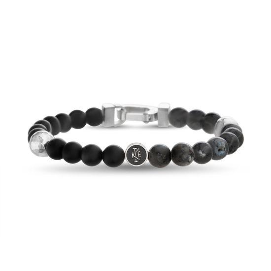Imagen de Ike Behar Silver-Tone Stainless Steel Mens Round Charm 7.5 Matte/Labradorite Beaded Bracelet