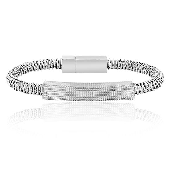 Picture of Ike Behar Silver-Tone Stainless Steel Textured Bar 7 Twisted Square Wire Bracelet