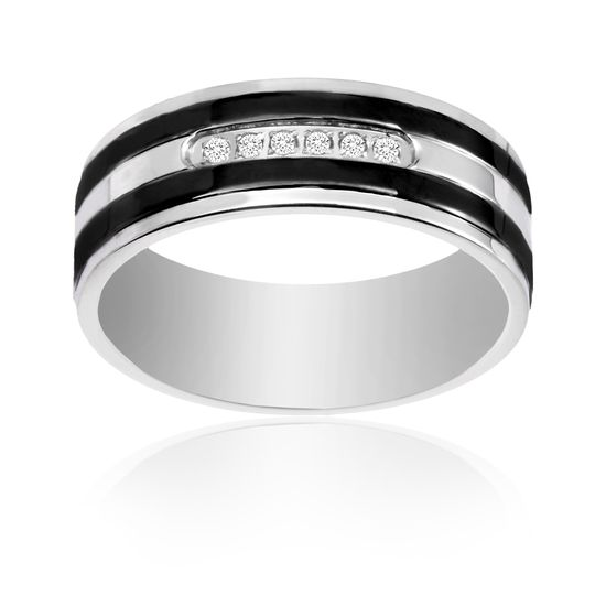 Picture of Ike Behar Two-Tone Black Stainless Steel Men's Cubic Zirconia Striped Band Ring Size 10