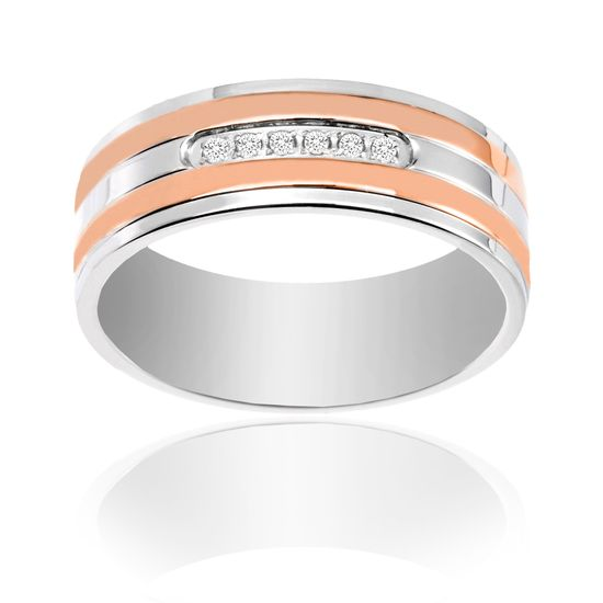 Imagen de Ike Behar Two-Tone Rose Stainless Steel Men's Cubic Zirconia Striped Band Ring Size 10