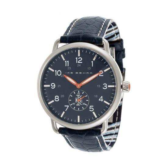 Imagen de Ike Behar Men's Silver Plated Case Multifunction Dial Navy Blue Leather Band Watch