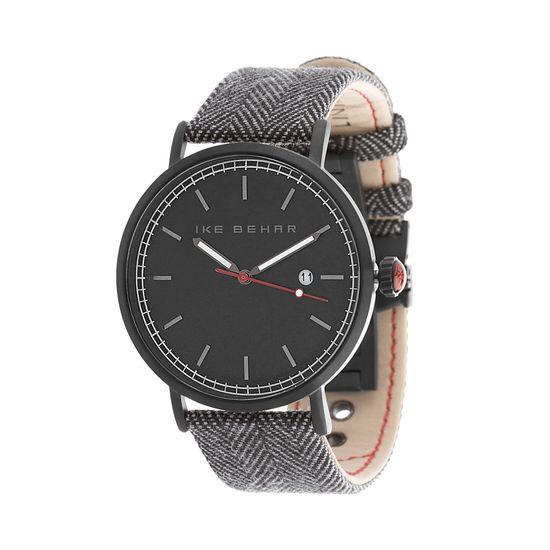 Imagen de Ike Behar Men's Black IP Case Date Function Dial Black & Gray Tweed Design Leather Band Watch