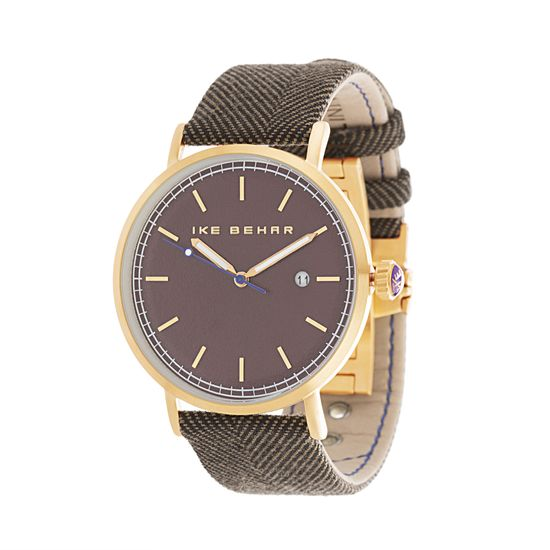 Imagen de Ike Behar Men's Gold Plated Case Date Function Dial Light & Dark Brown Tweed Design Leather Band Watch