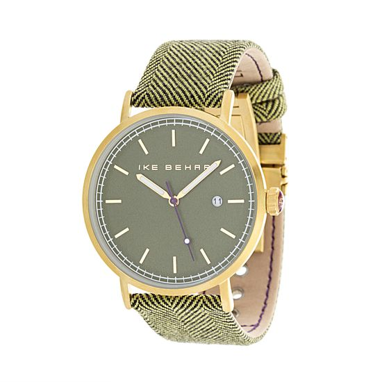 Imagen de Ike Behar Men's Gold Plated Case Date Function Dial Black & Green Tweed Design Leather Band Watch