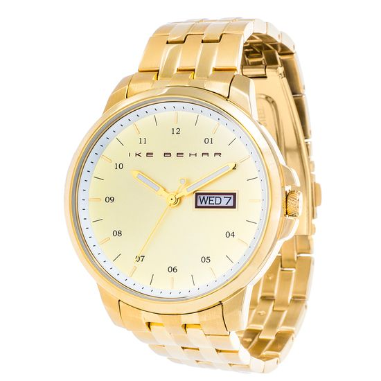 Imagen de Ike Behar Men's Gold Plated Date Function Yellow Dial Striped Alloy Band Watch