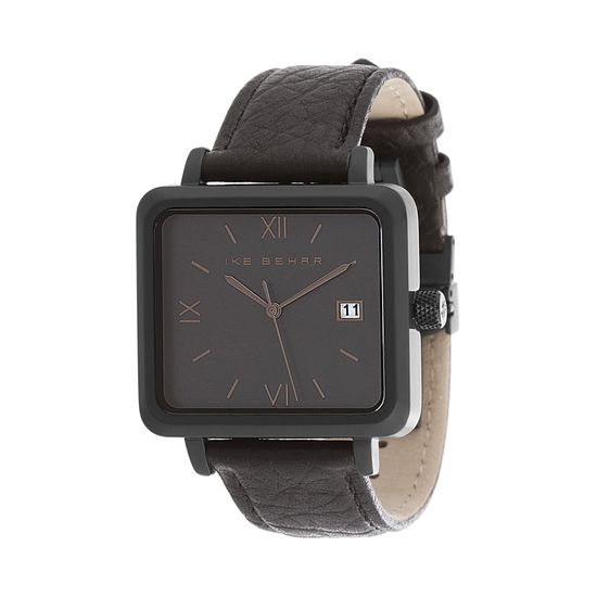 Imagen de Ike Behar Black IP Square Stainless Steel Case Date Function Roman Numeral Dial Black Leather Band Watch