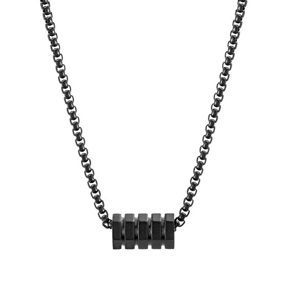 Imagen de Kitsune Black-Tone Stainless Steel Geo Shaped Rondelle Box Chain Men's Necklace