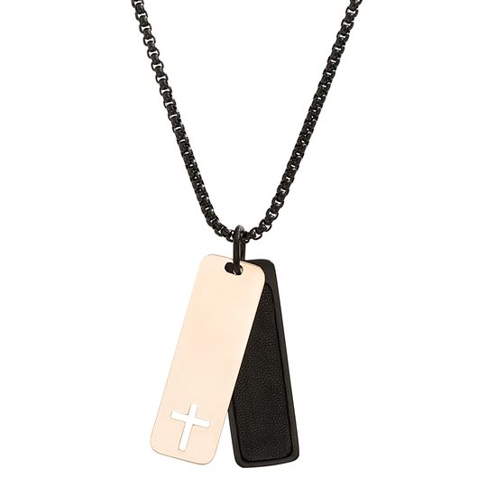 Imagen de Kitsune Cross/Black Leather Dog Tag Pendant on Rose & Black IP Box Chain Necklace in Stainless Steel