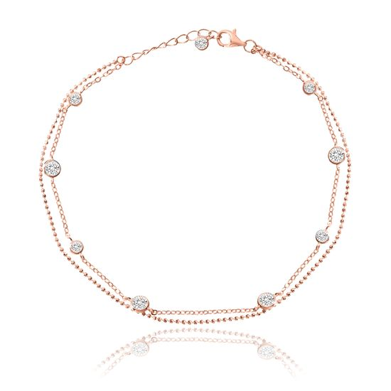 Imagen de Sterling Silver CZ Bezel Double Layered Station Ball Chain Anklet