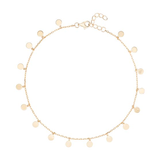 Imagen de Sterling Silver Dangling Disc Charms Cable Chain Anklet