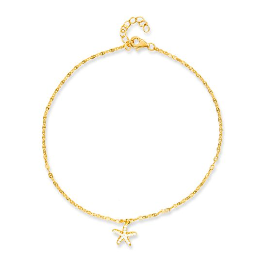 Imagen de Sterling Silver Dangling Cubic Zirconia Starfish Charms Mariner Chain Anklet