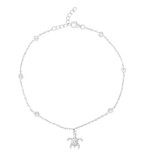 Picture of Sterling Silver Cubic Zirconia Beads/Turtle Charm Anklet