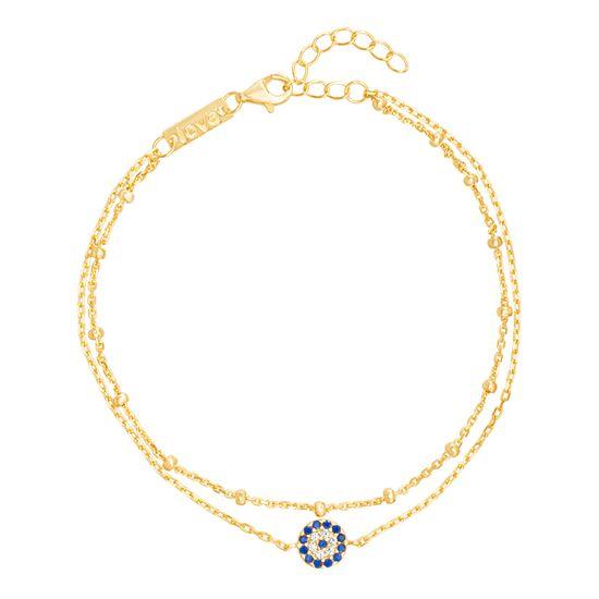 Imagen de Blue & Genuine Cubic Zirconia Evil Eye Anklet in Gold over Sterling Silver