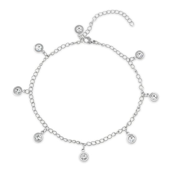 Picture of Silver-Tone Stainless Steel Dangling Bezel Crystal Charms Cable Chain Anklet