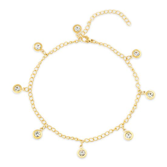 Picture of Gold-Tone Stainless Steel Dangling Bezel Crystal Charms Cable Chain Anklet