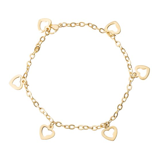 Imagen de Gold Plated Stainless Steel Dangling Open Heart Charms Cable Chain Anklet