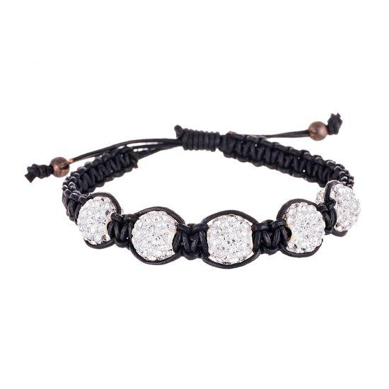 Imagen de Sterling Silver Crystal Fireball Stations Black Cord Adjustable Bracelet