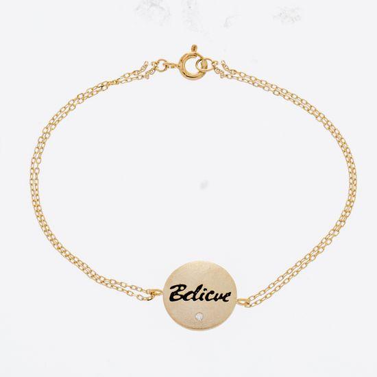 Imagen de Sterling Silver Cubic Zirconia Round Inspirational Cable Chain Bracelet