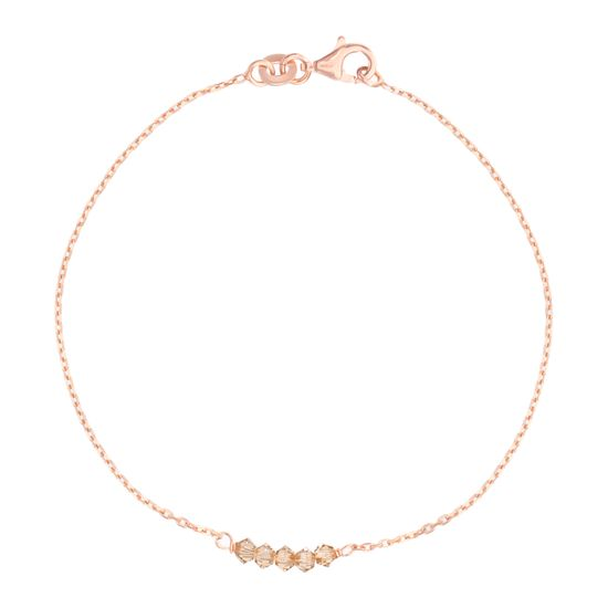 Imagen de Sterling Silver Rose Smokey Bead Station Cable Chain Bracelet