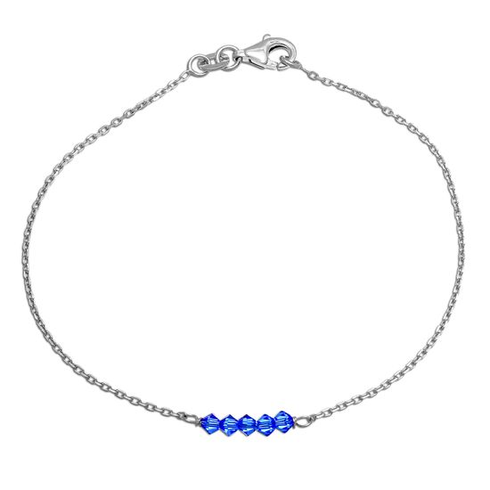 Imagen de Sterling Silver Blue Bead Station Cable Chain Bracelet