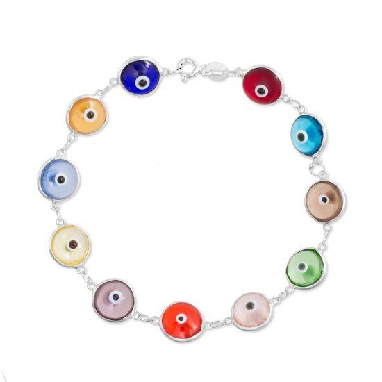 Picture of Sterling Silver Multi-Color Glass Evil Eye 7 Bracelet