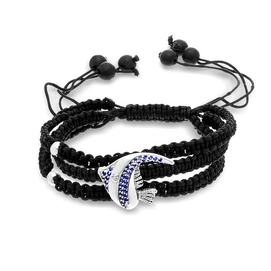 Imagen de Sterling Silver Blue Cubic Zirconia Fish Charm Triple Layer Black Cord Adjustable Bracelet