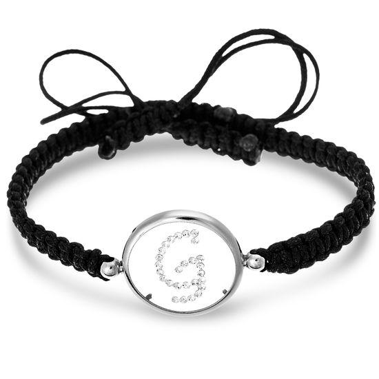 Picture of Sterling Silver Crystal Intial G Disc Black Cord Adjustable Bracelet