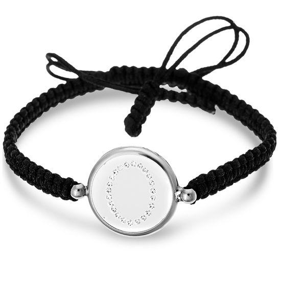 Imagen de Sterling Silver Crystal Intial O Disc Black Cord Adjustable Bracelet